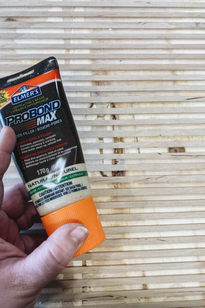 filling plywood with wood filler