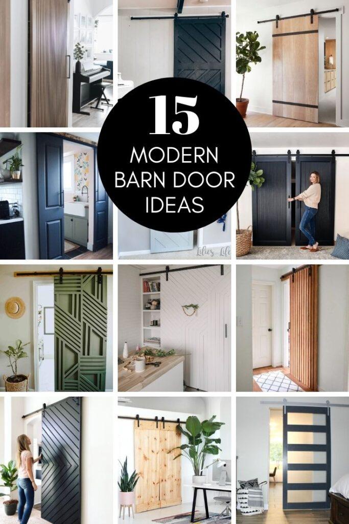 collage of modern barn door ideas
