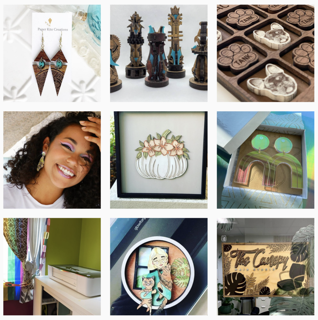 Collage of Glowforge project ideas