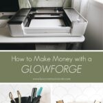 Collage of the glowforge and projects with the caption, how to make money with the glowforge