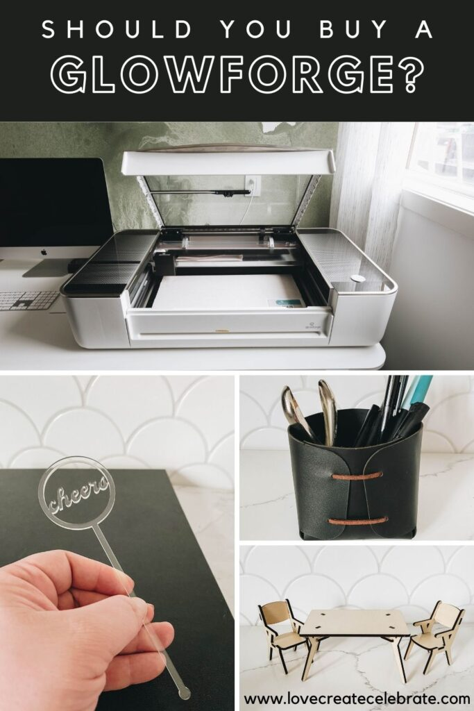 """Collage of the Glowforge and project ideas with text reading, """"Should I buy a Glowforge"""""""