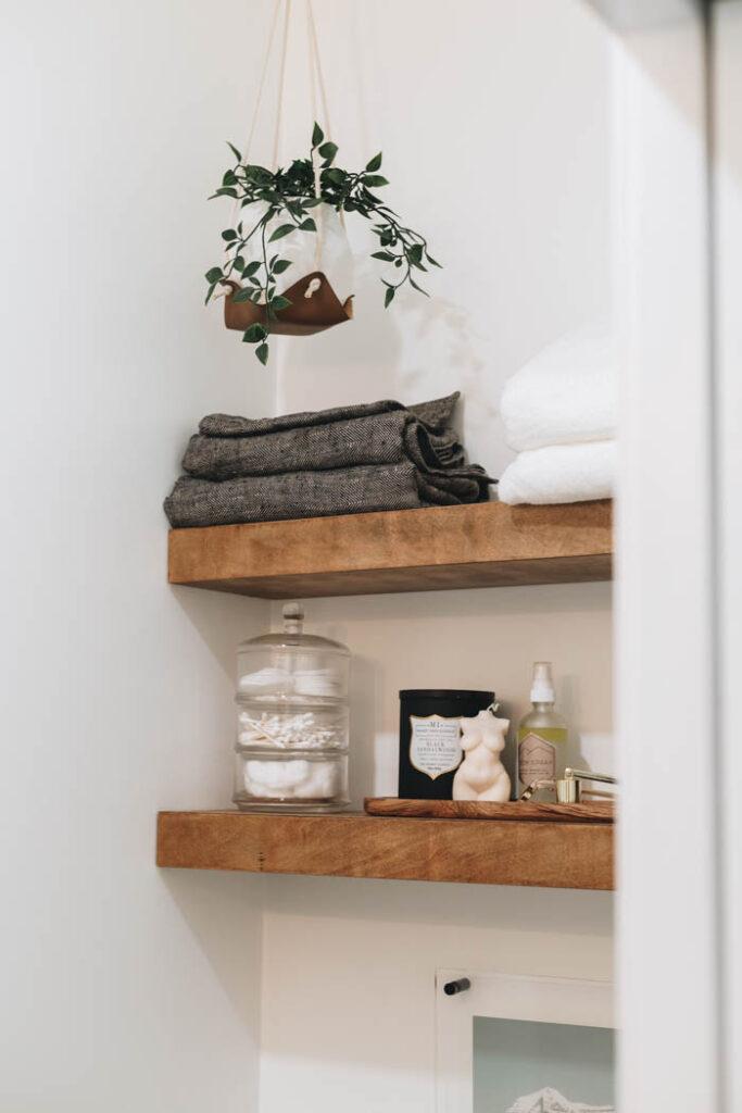 bathroom shelf styling and DIY decor