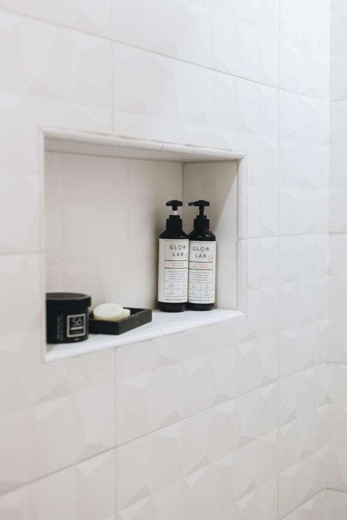white tile niche