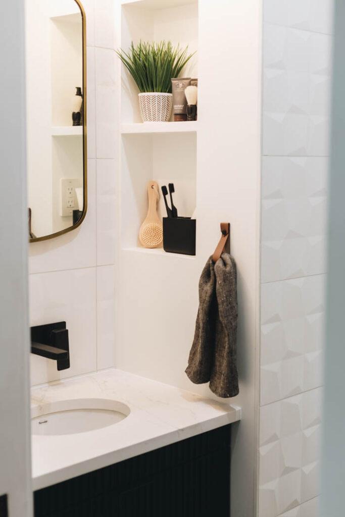 leather towel hanger in the bathroom