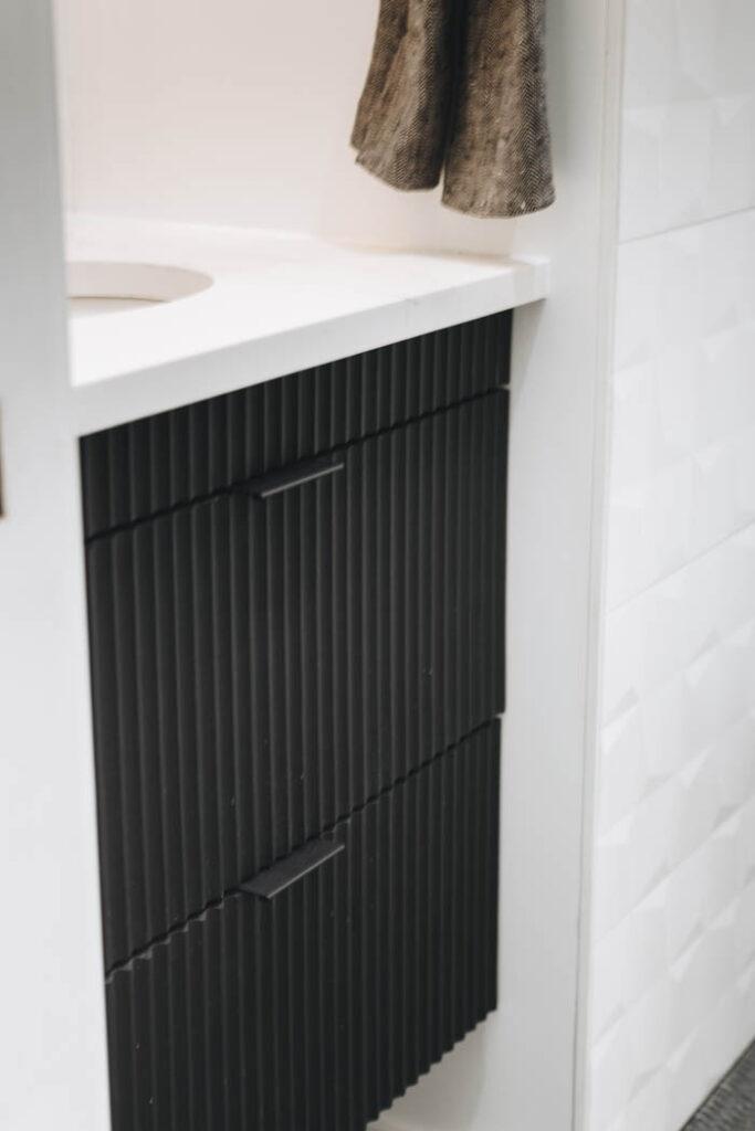 textured black cabinet