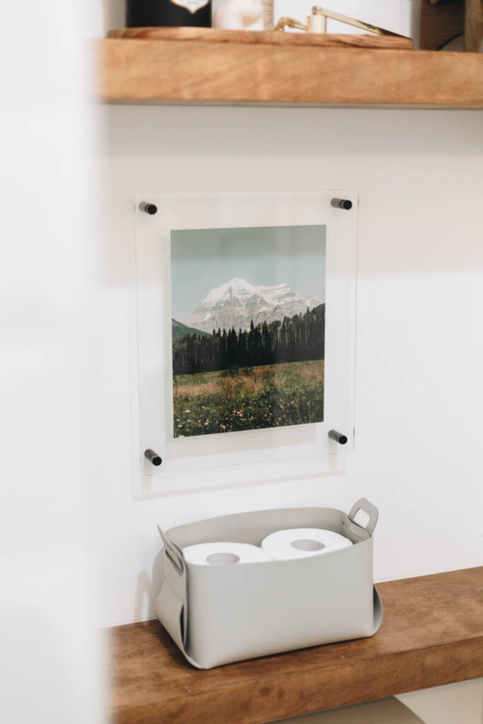 acrylic frame art in bathroom