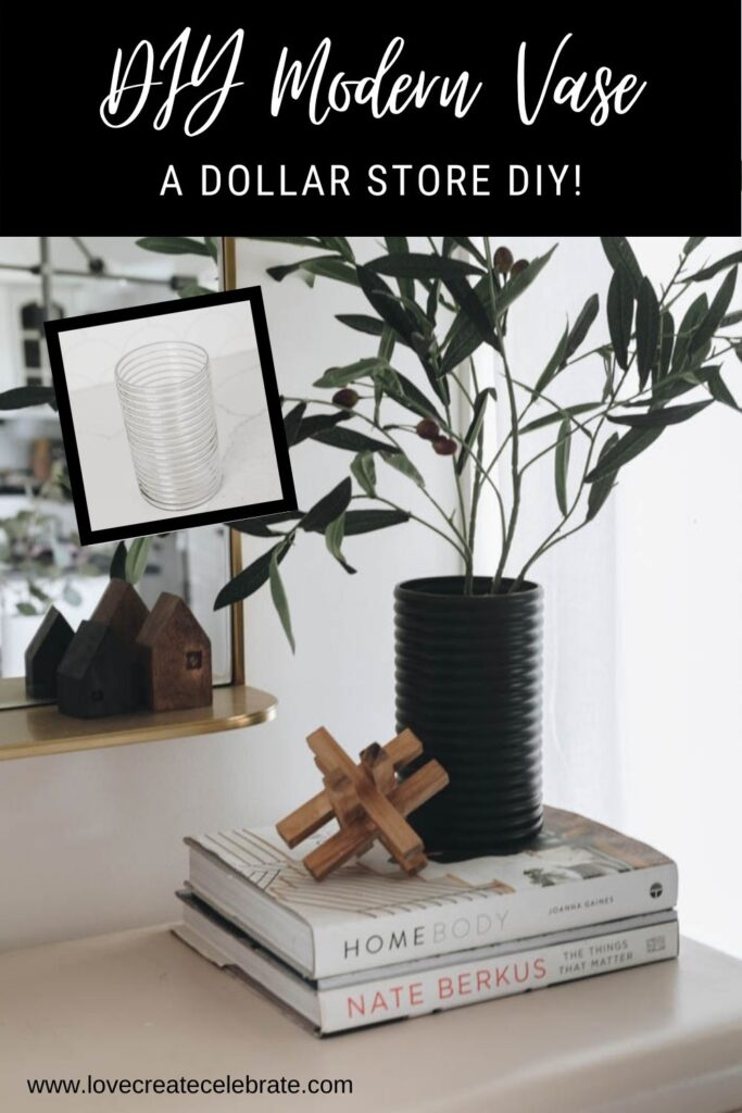 image of diy dollar store vase before and after with text overlay