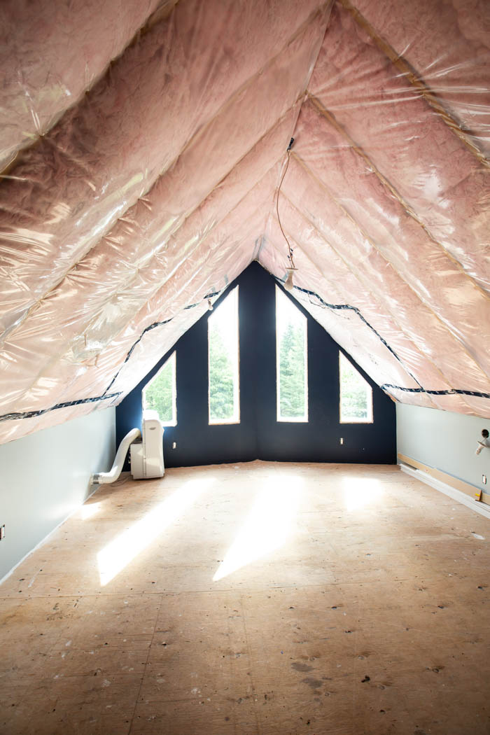 image of loft space before shiplap