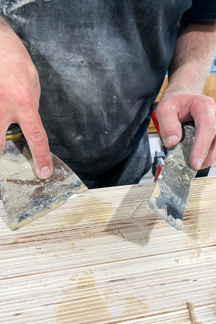 filling holes with wood filler
