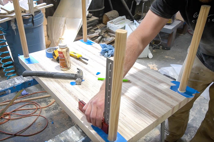 adding brackets to legs of kid's table