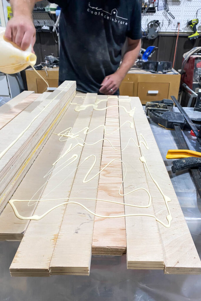 plywood strips with glue on them