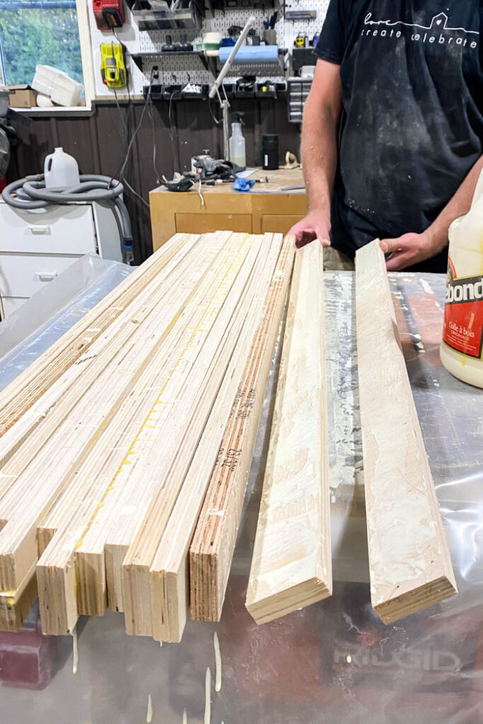 plywood strips being glued together