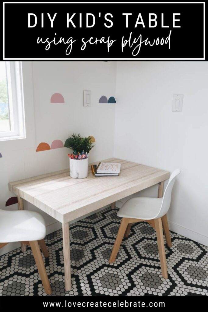 kids table with chairs and text overlay
