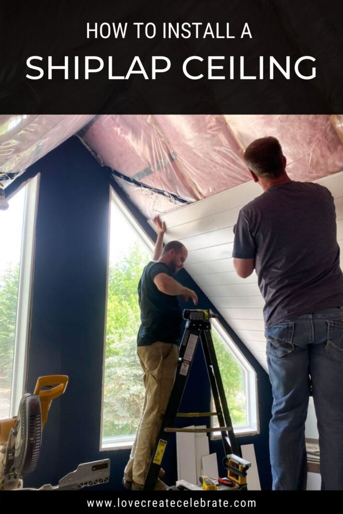 image of 2 men installing shiplap with text overlay