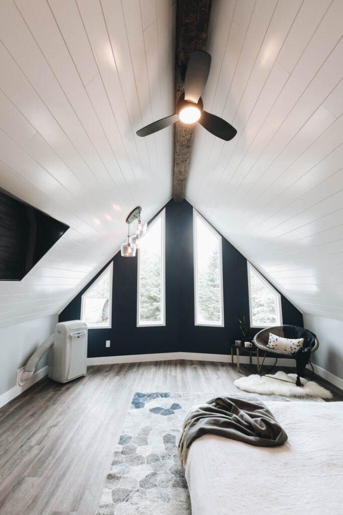modern farmhouse aframe loft space