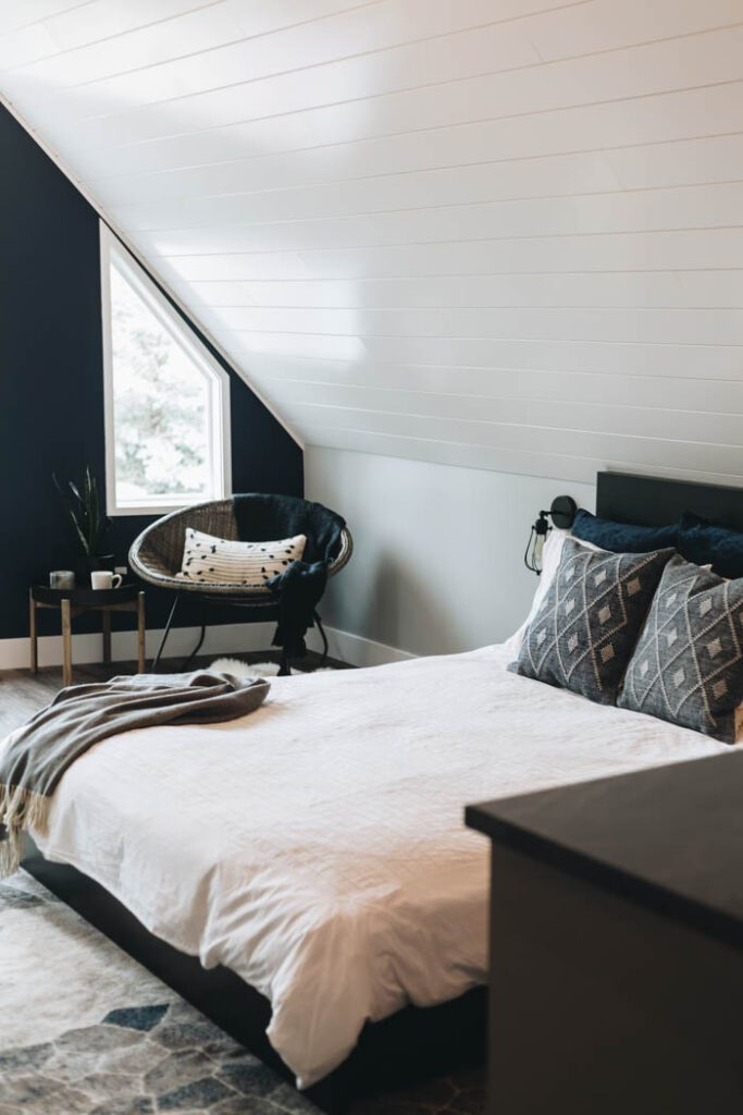 modern farmhouse bedroom with shiplap ceiling
