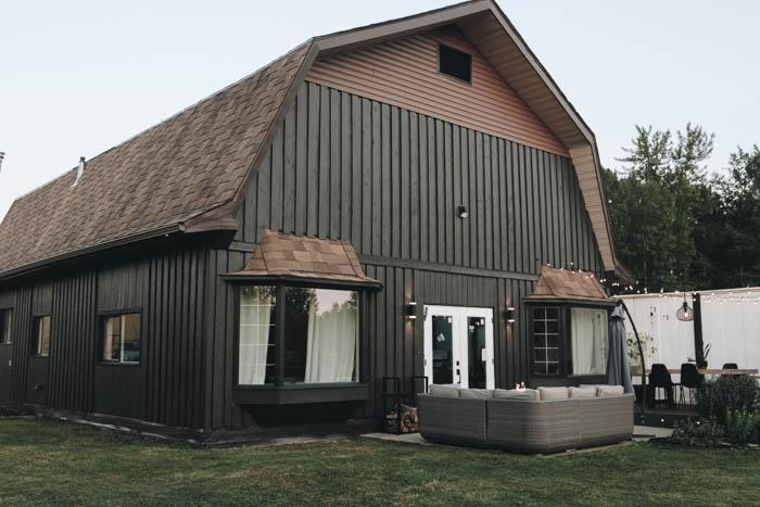 grey exterior with black windows