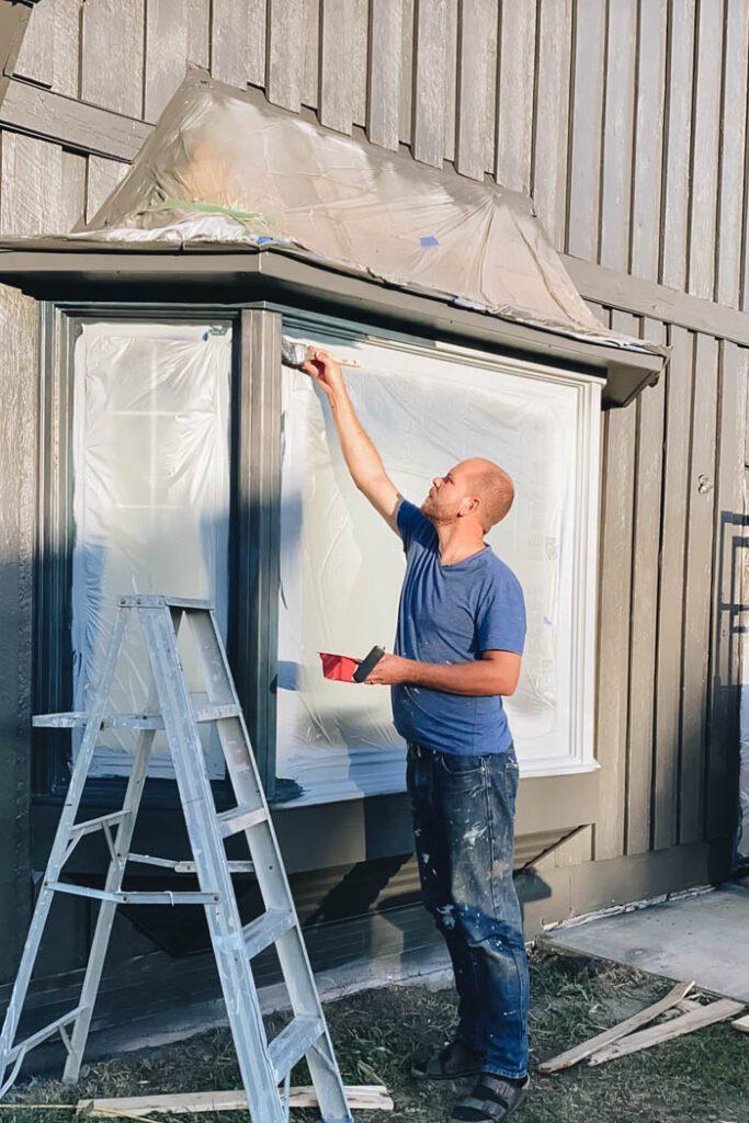 painting wood bay windows