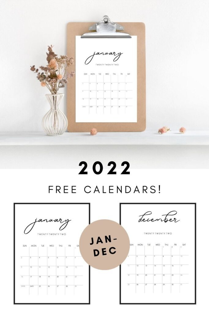 2022 free monthly calendars