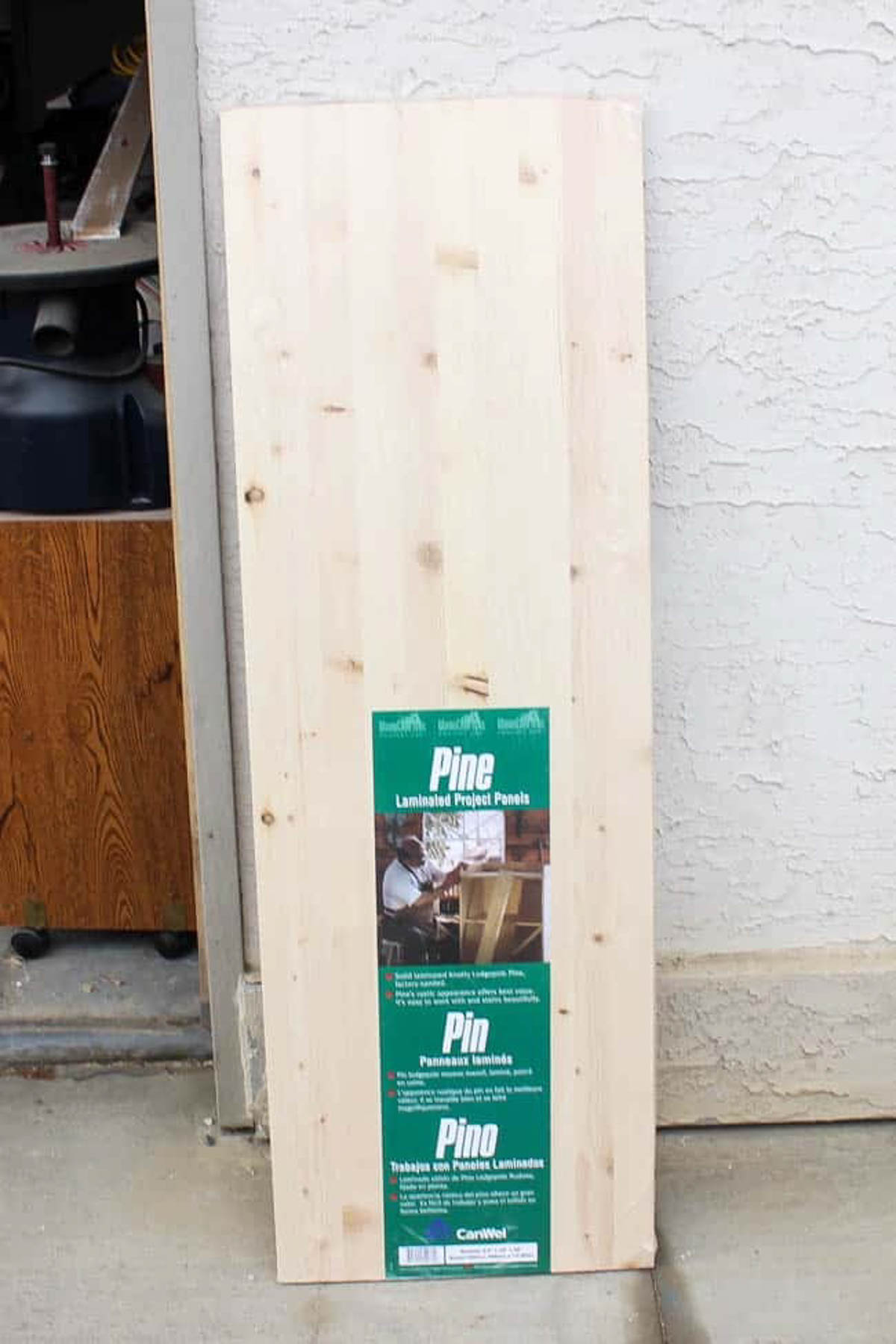 Pine board for DIY bath tray with wine glass holder
