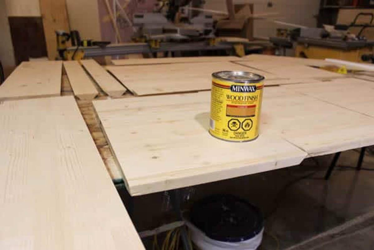 Wood finish for staining floating shelves