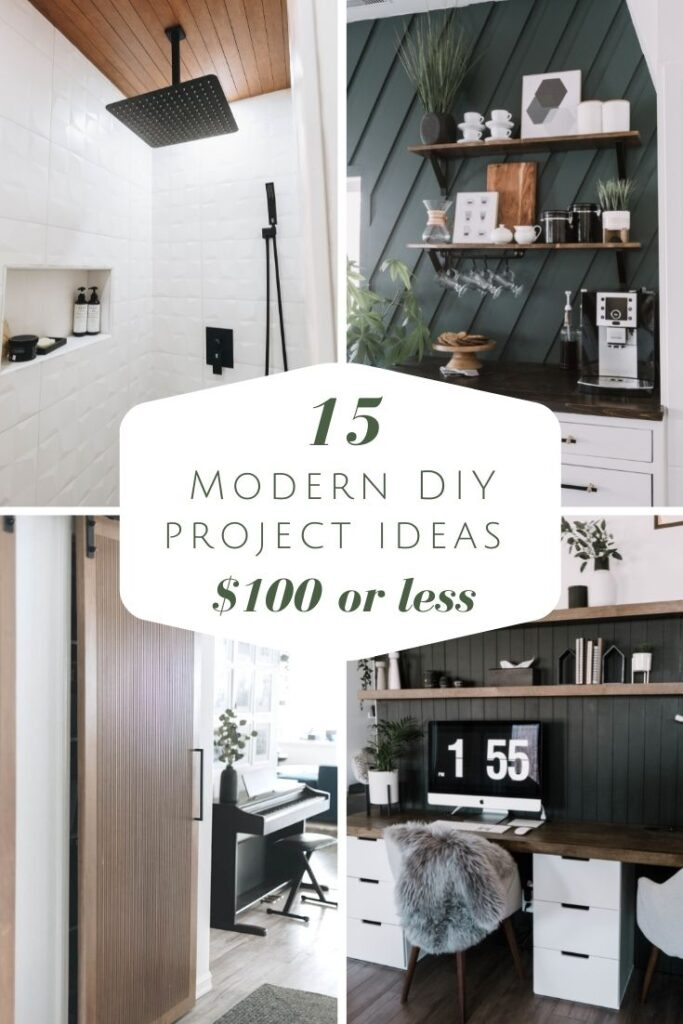 Collage of Modern DIY projects with text reading 15 modern diy project ideas