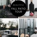 """collage of modern patio pictures with text reading """"beautiful fall patio tour"""""""