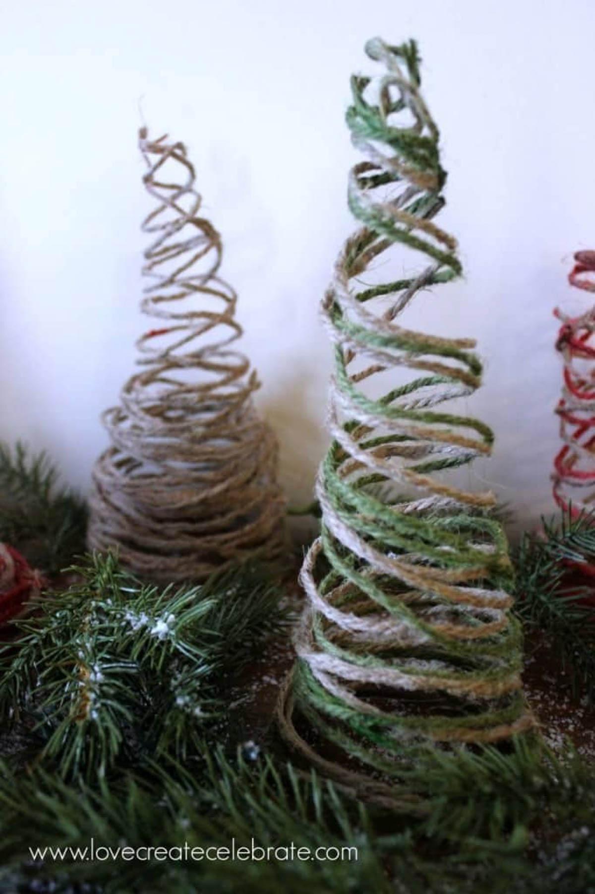 DIY string Christmas trees