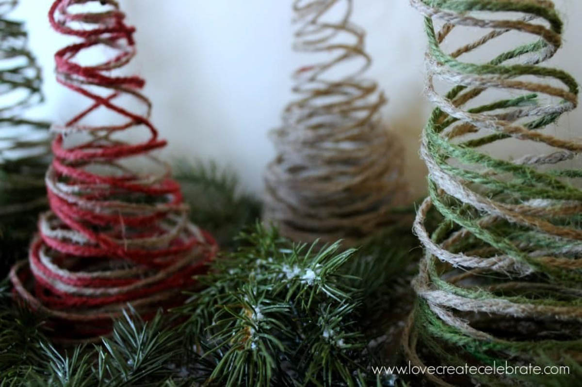 Red green and natural string Christmas trees