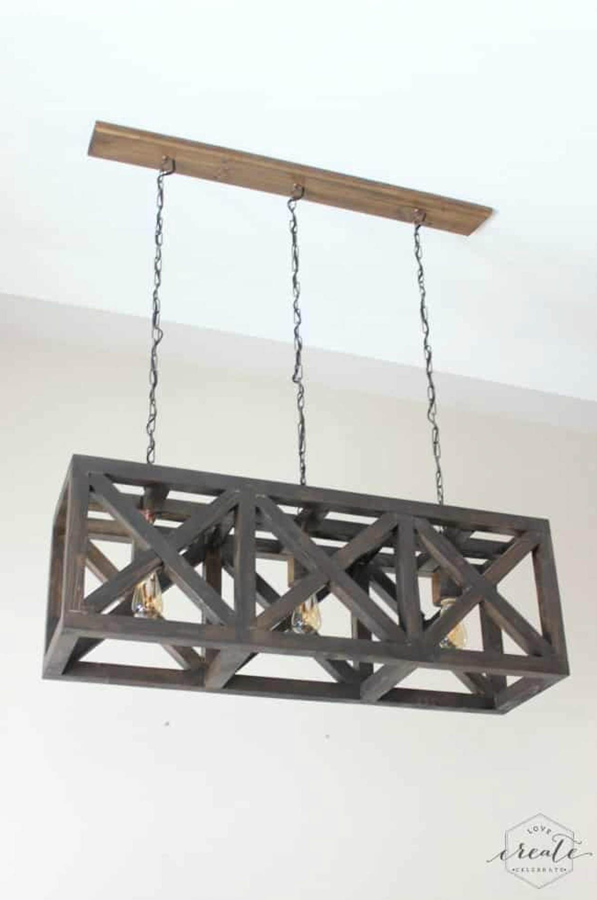 Industrial pendant light hanging from ceiling