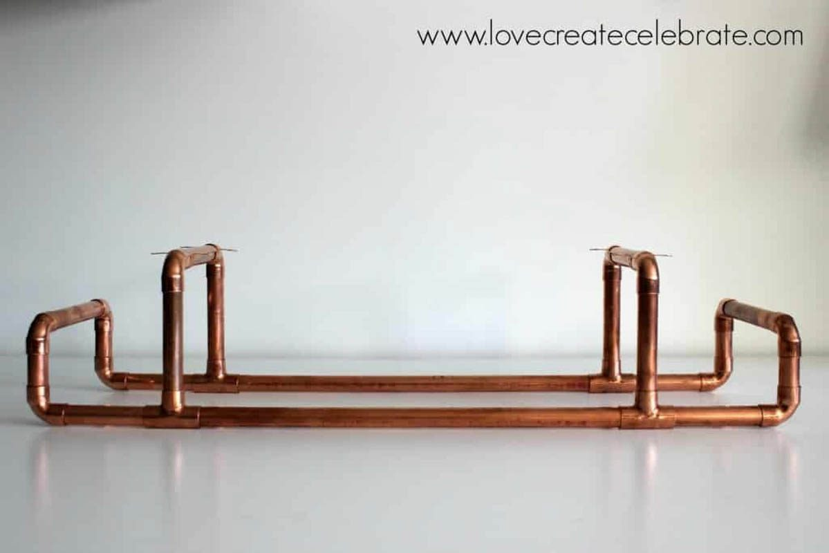 Finished copper wine rack