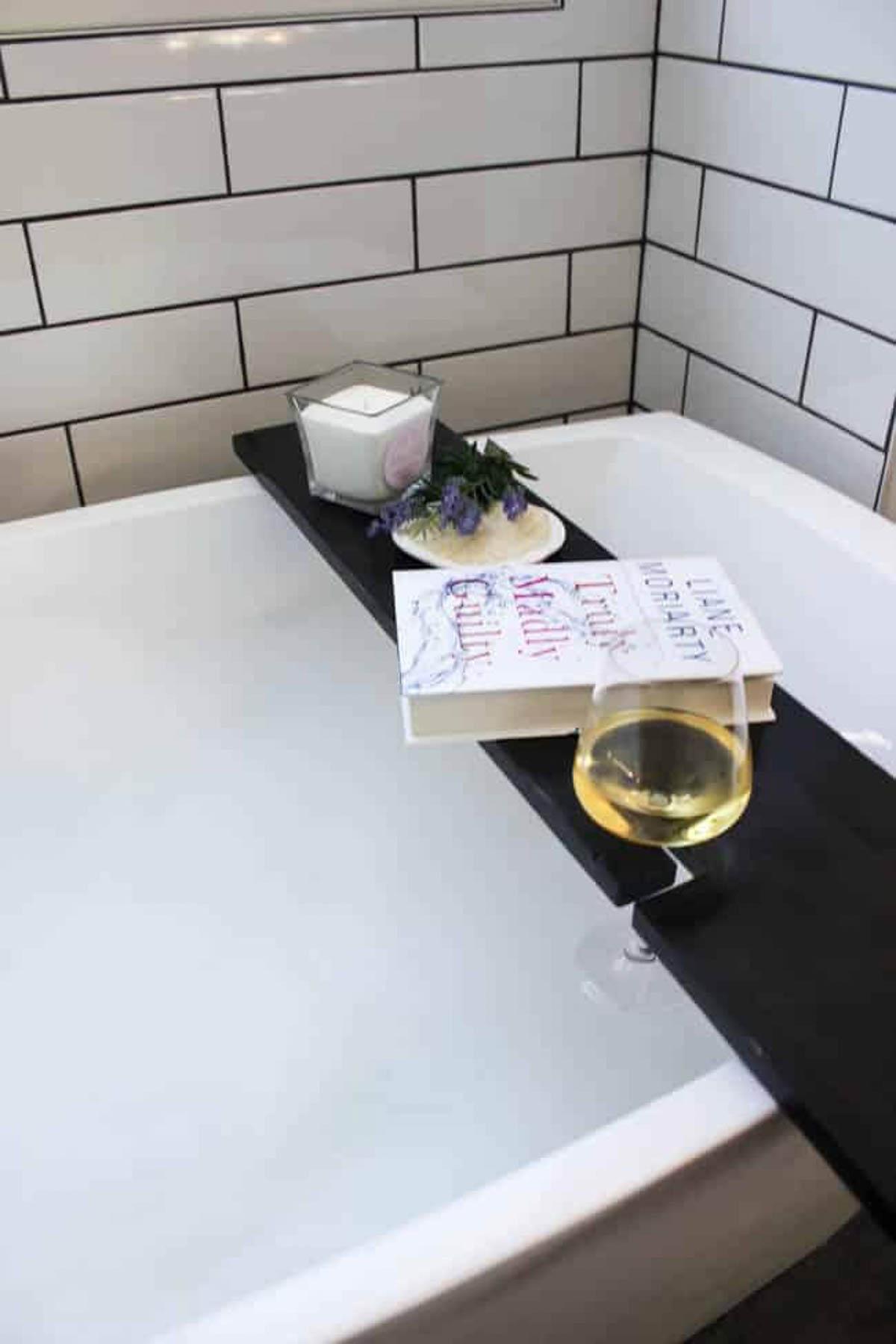 Overhead image of DIY bath tray