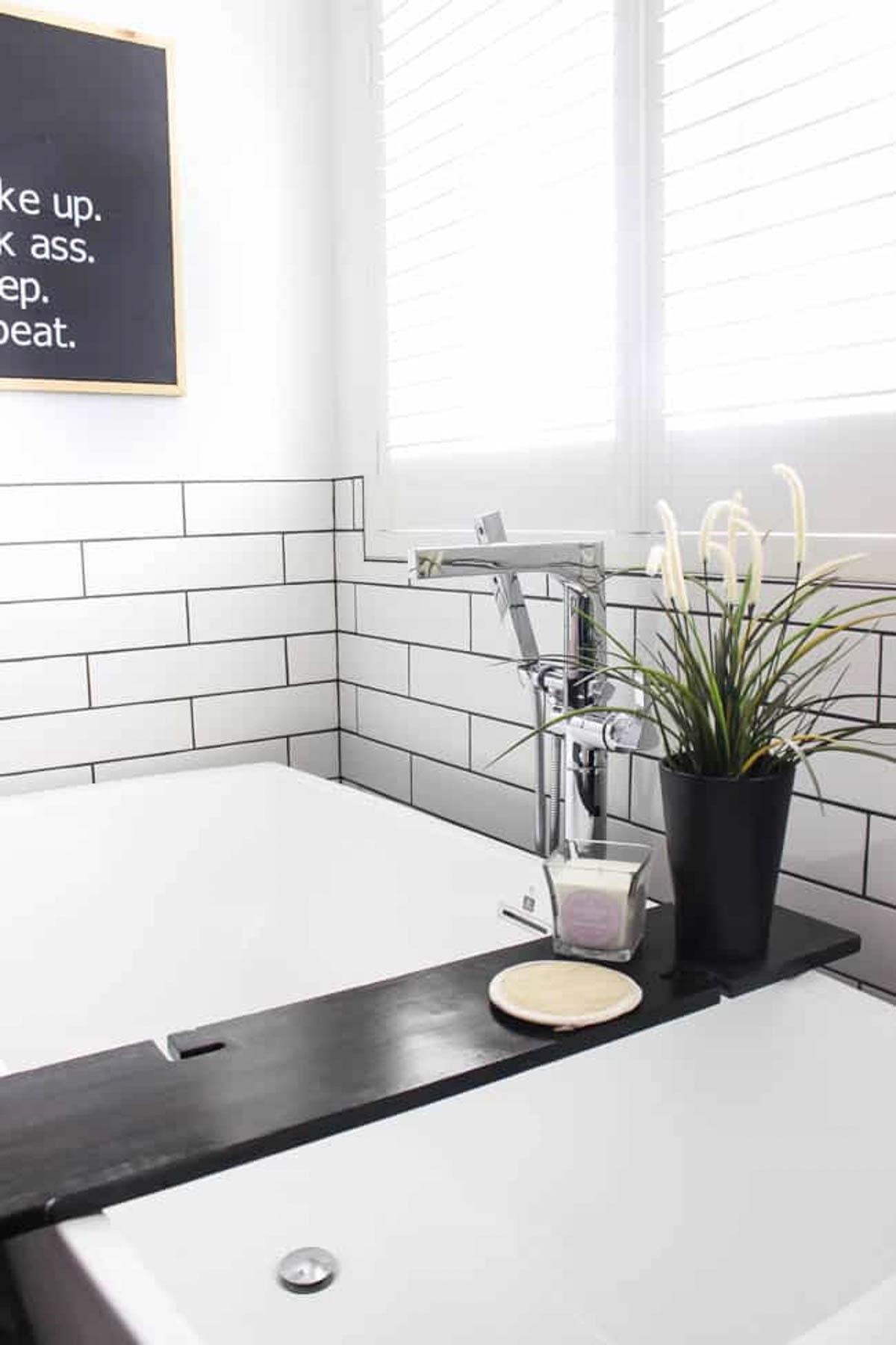 Bath tray in remodeled bathroom