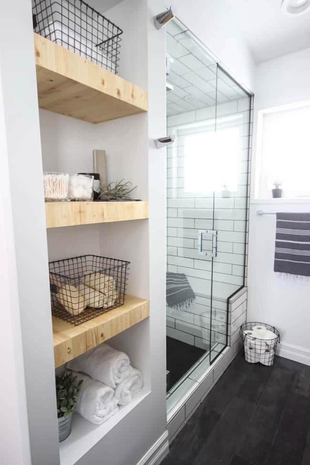 A built-in version of easy floating shelves