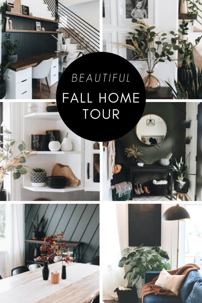 """collage of modern fall home tours with text reading """"Beautiful Fall Home Tours"""""""