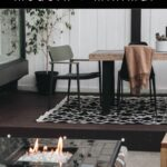 """modern backyard with text reading """"fall patio tour - minimal and modern"""""""