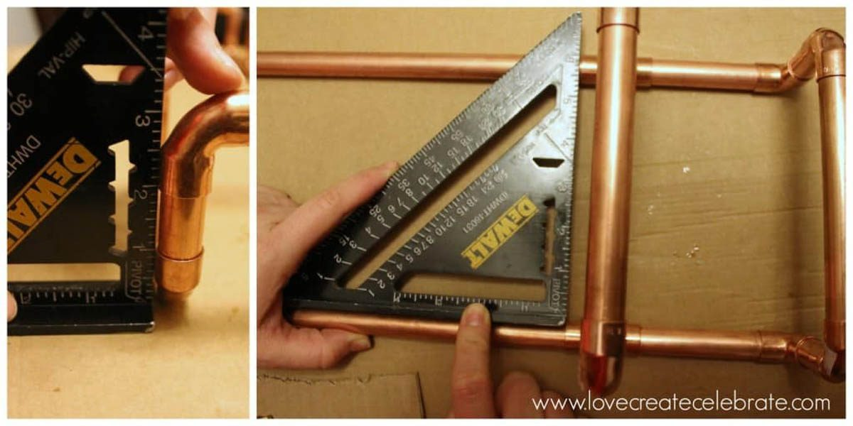 Image collage of measuring angles of the copper wine rack