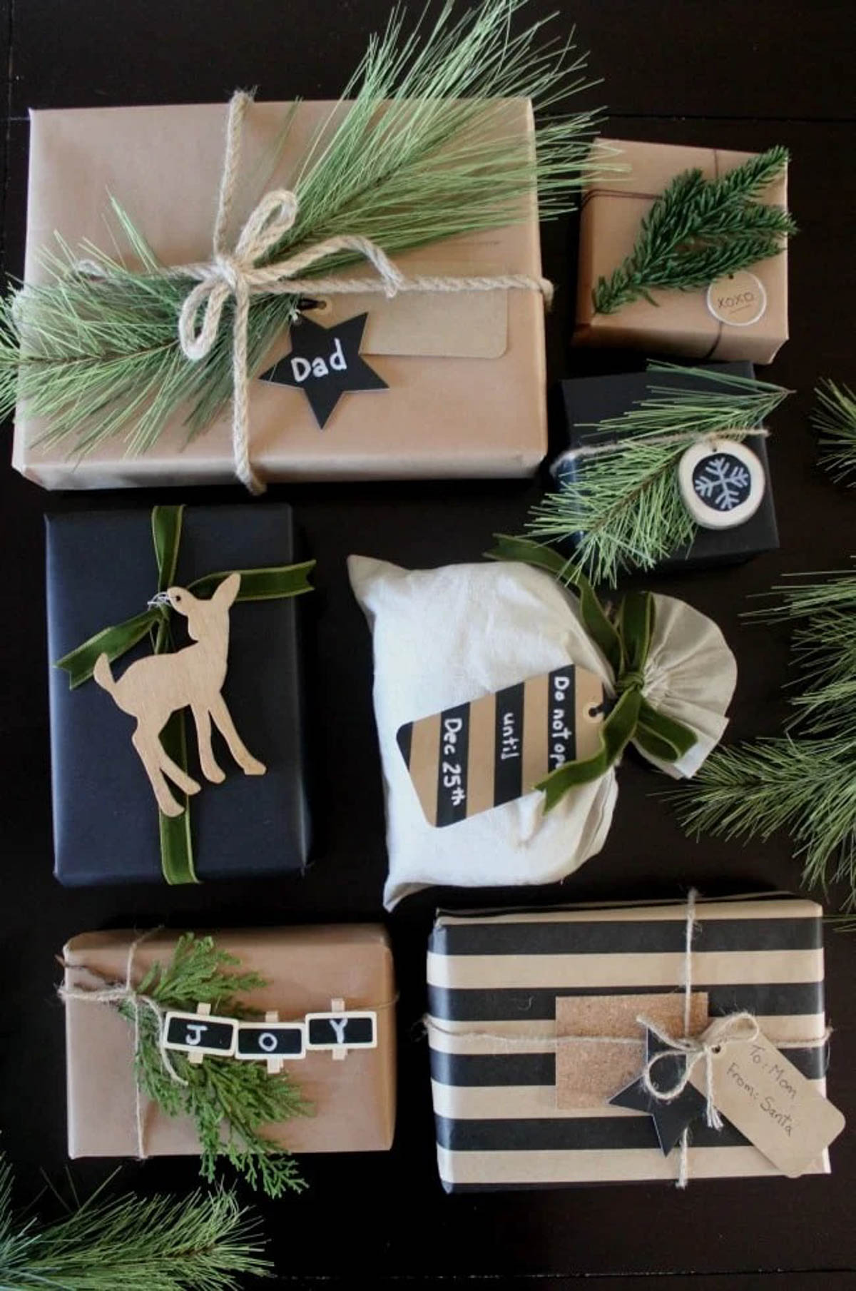 Multiple gifts wrapped in rustic gift wrapping paper