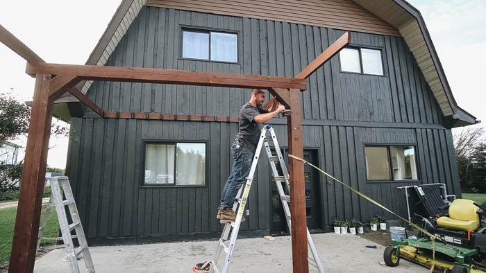 building a pergola on a concrete patio