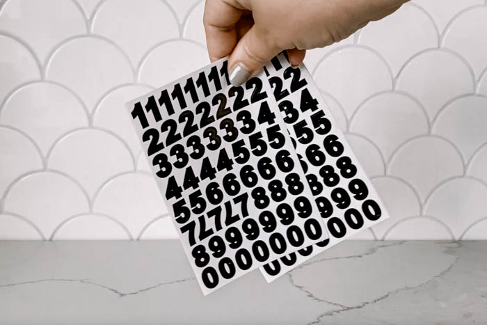 black number stickers for DIY advent calendar