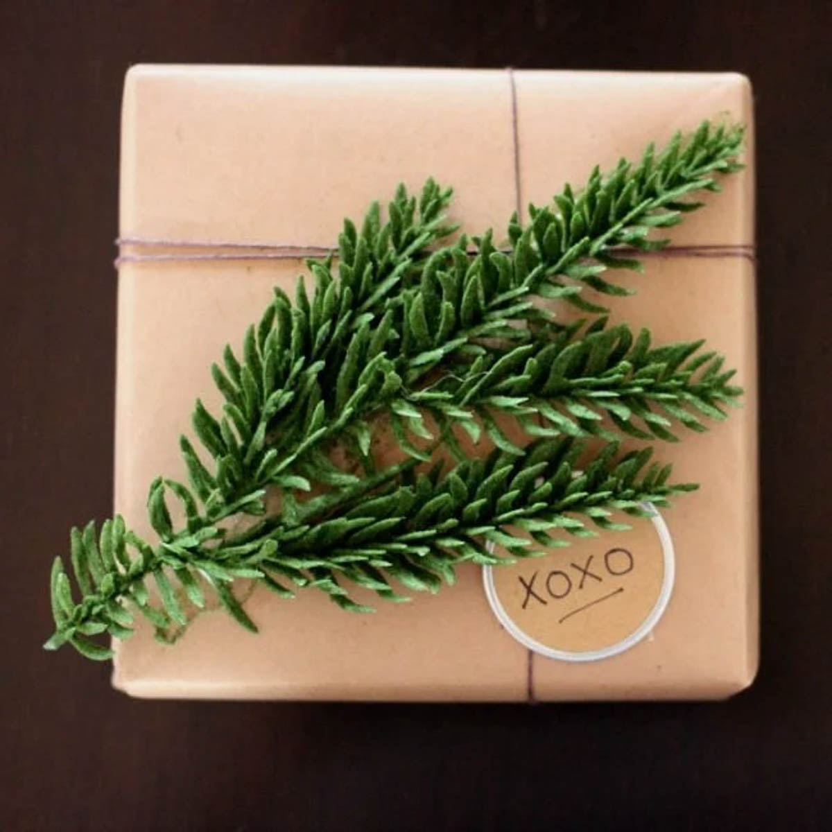 rust gift wrapped present with greenery and xoxo tag