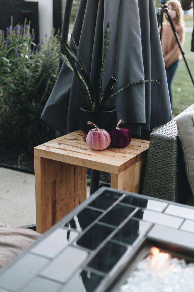 modern velvet pumpkins on a table