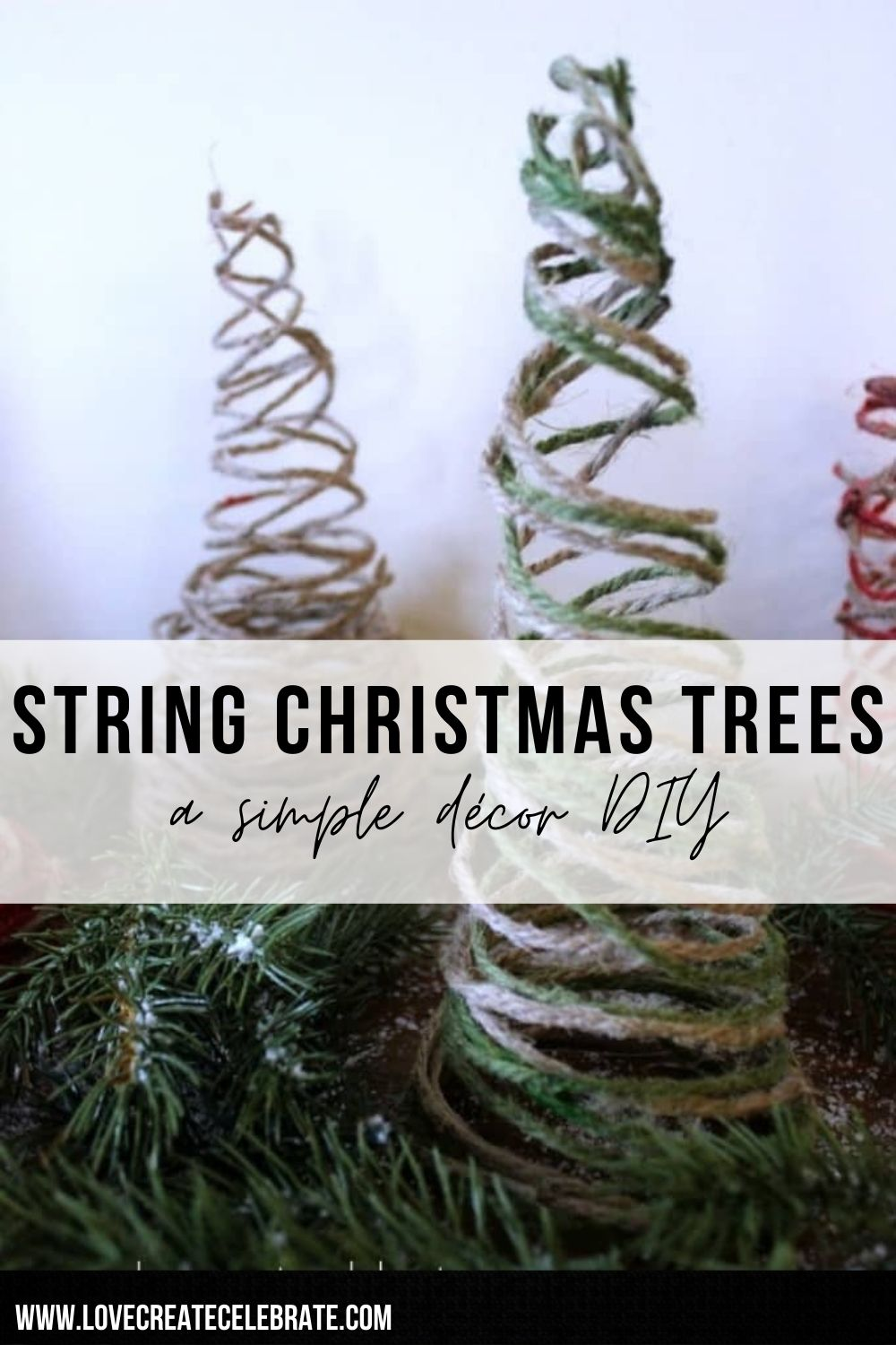 String Christmas trees image with text overlay