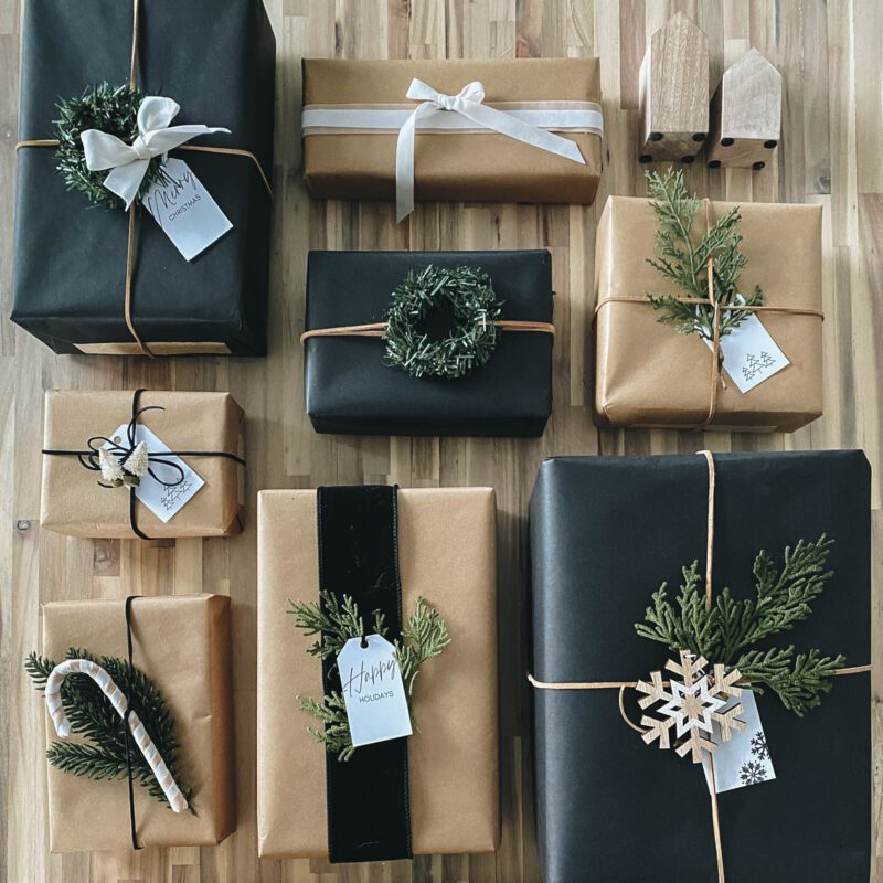 packeages wrapped with friendly gift wrap ideas