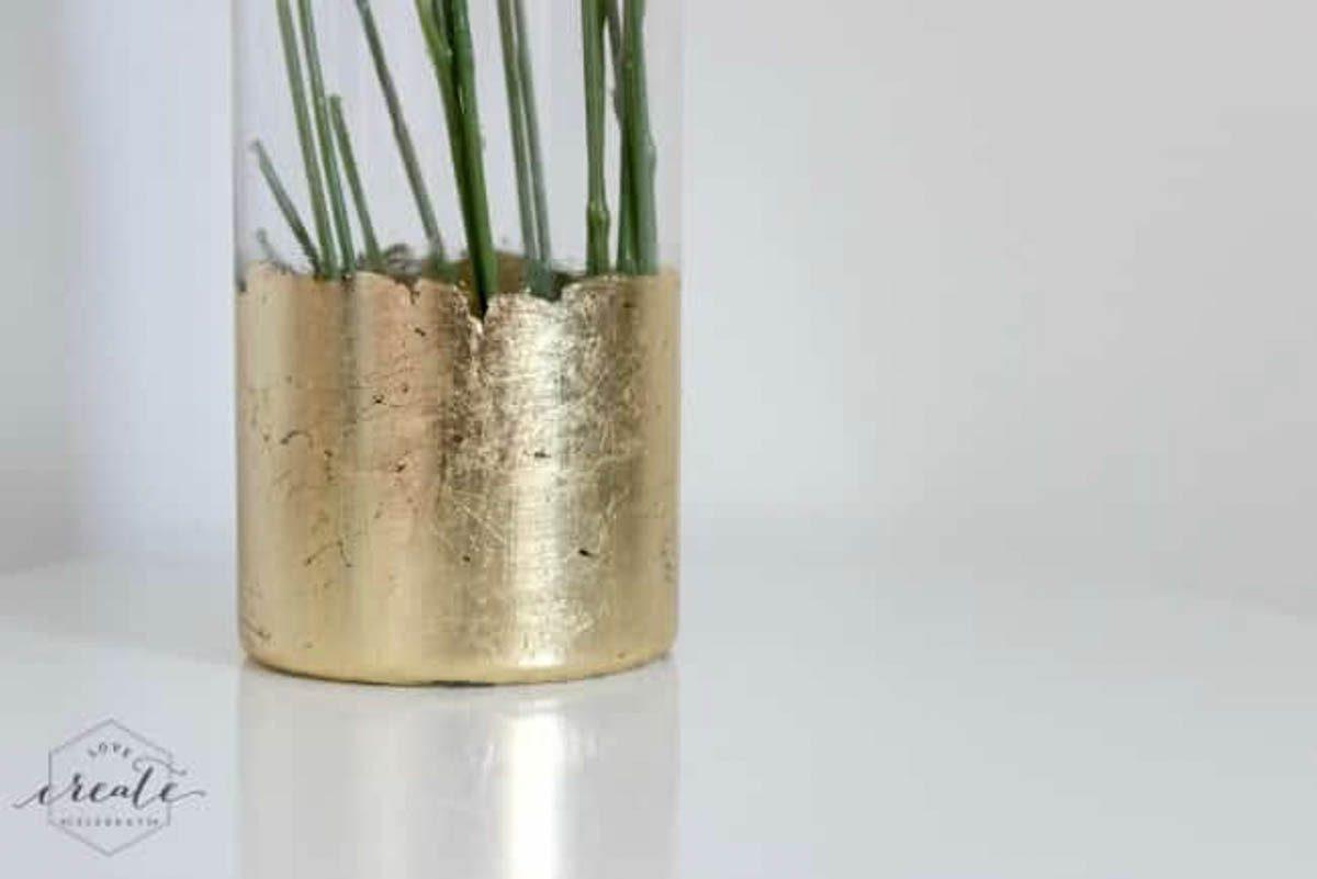 Finished gold leaf vase