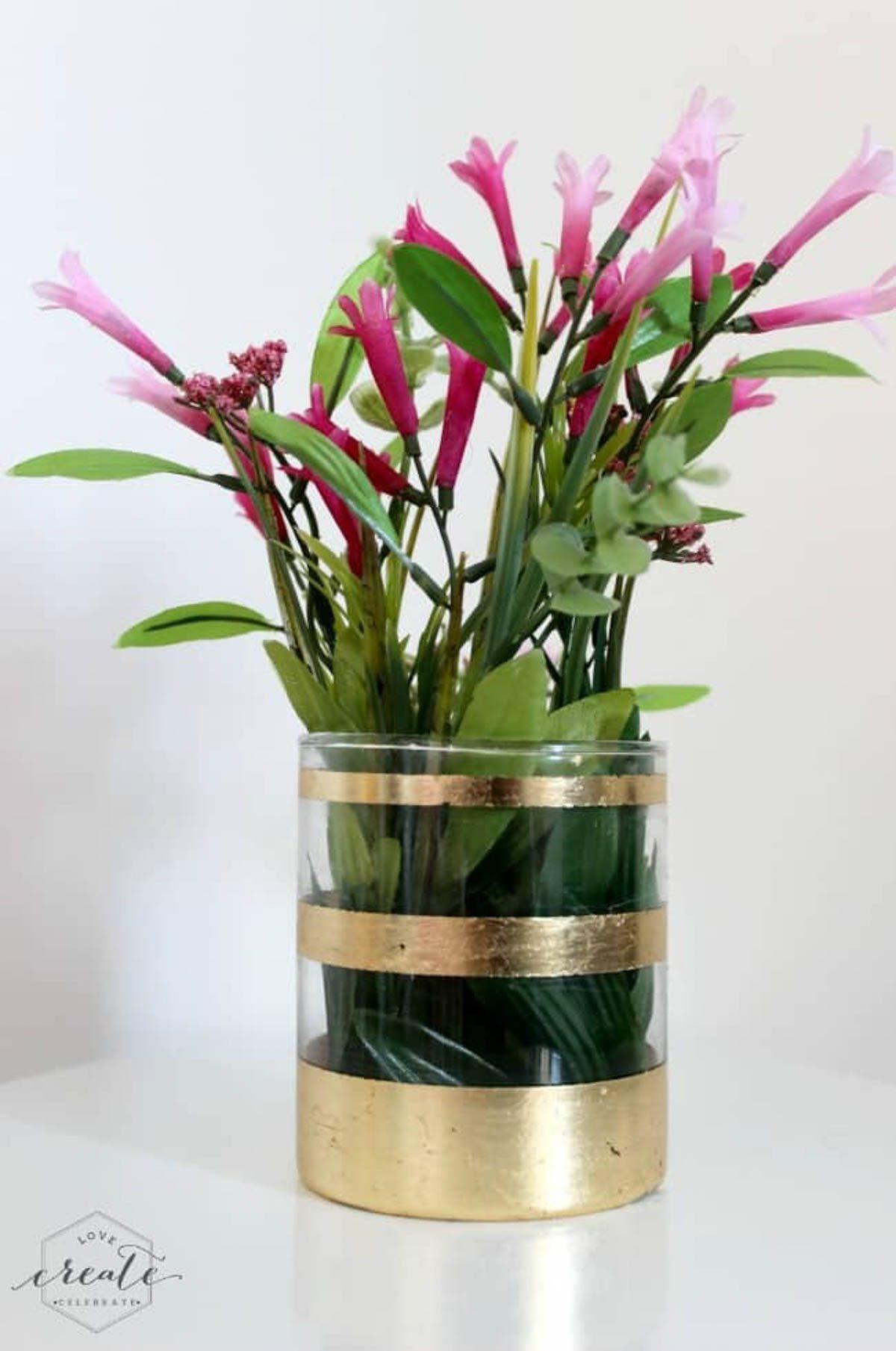 Flower vase with gold leaf design