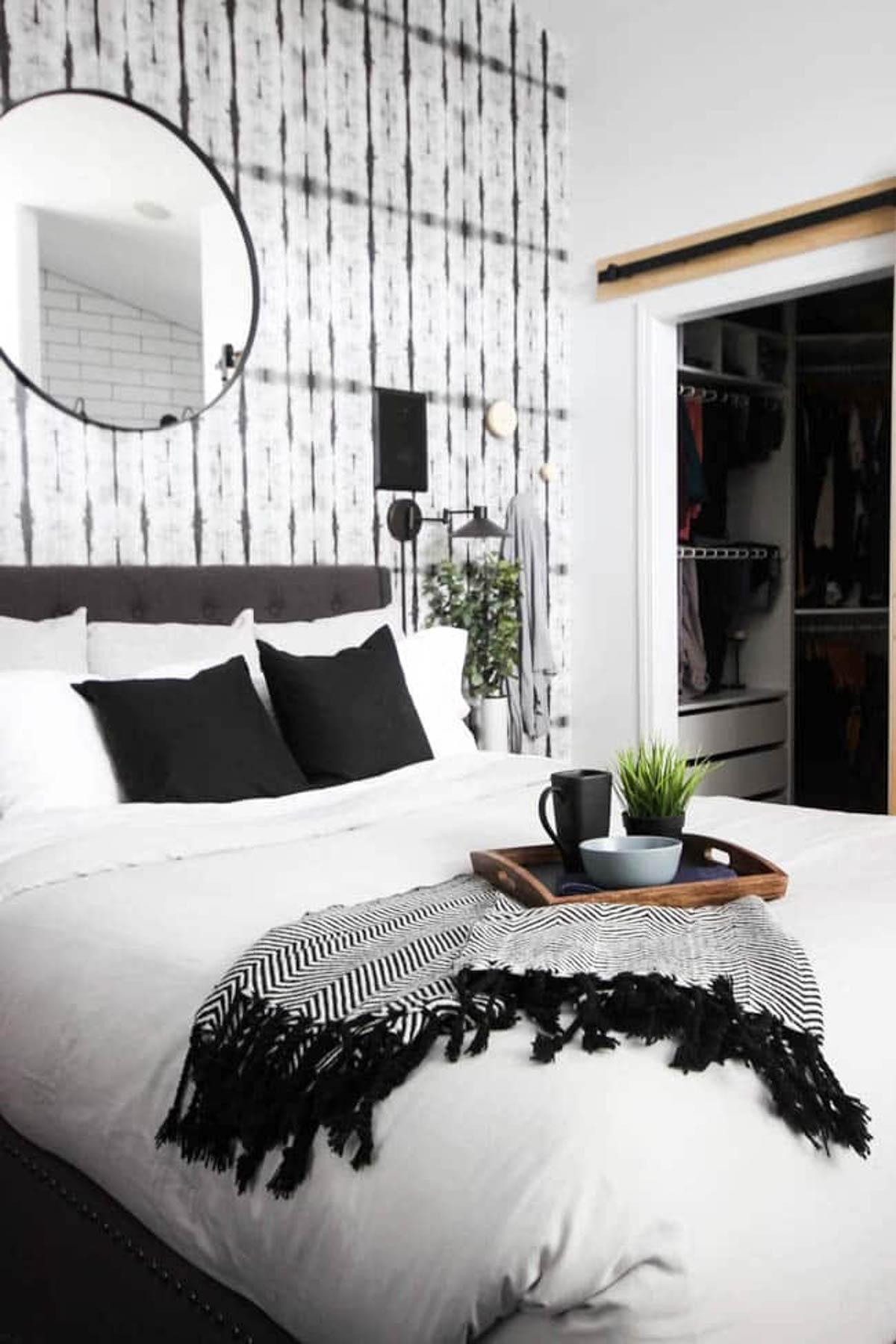 DIY wall hooks hanging in a bedroom