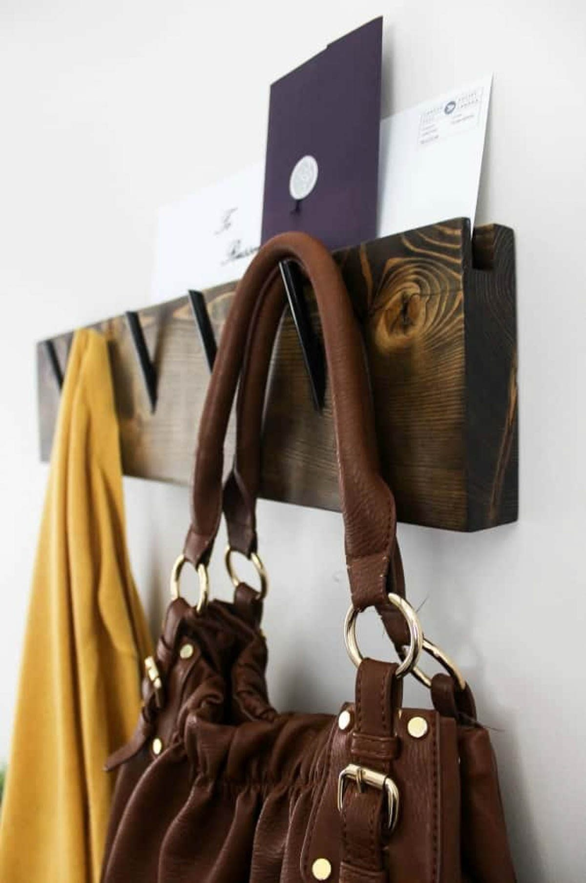 Wooden wall hooks with slot for mail