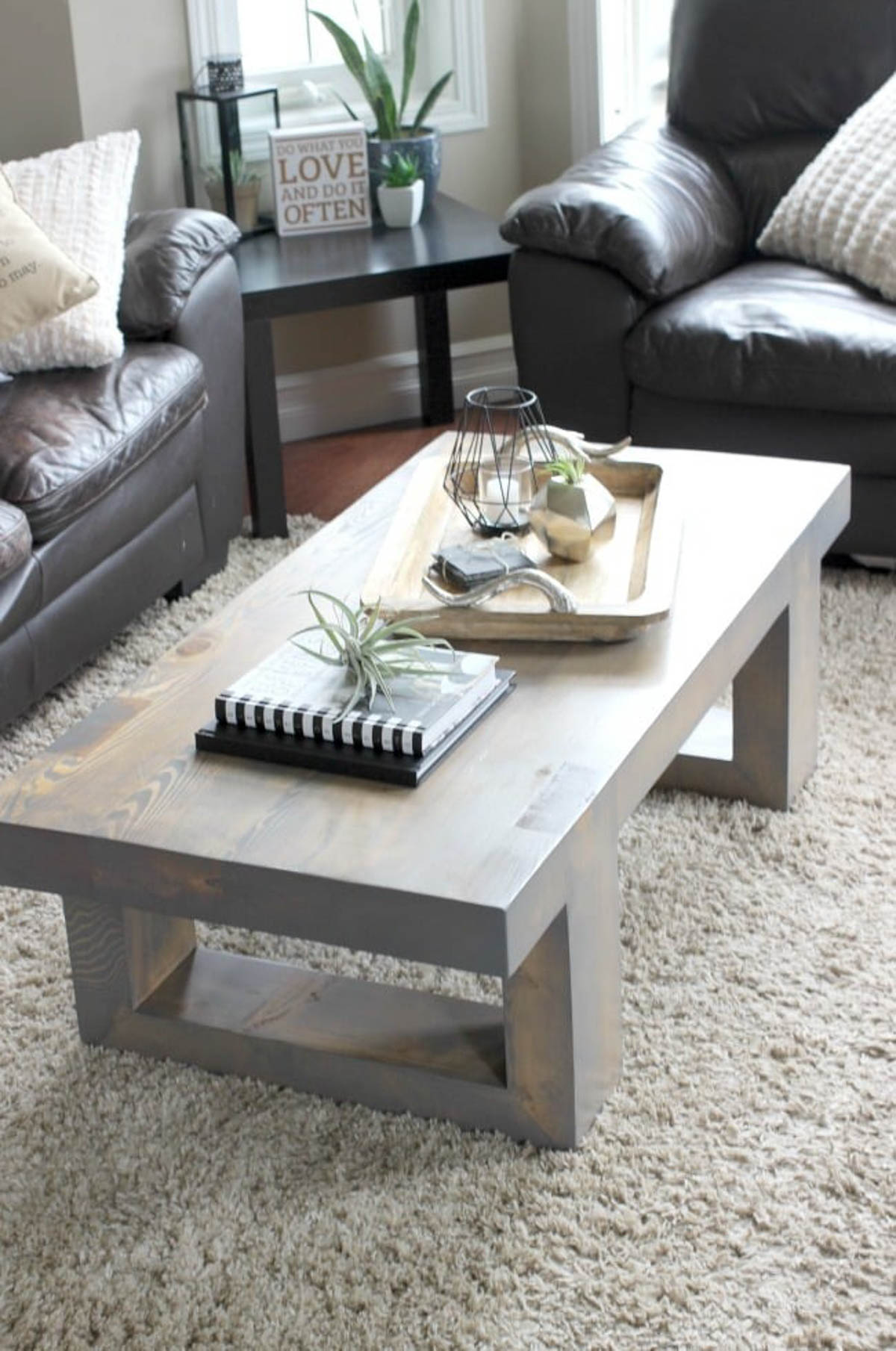 Decorated modern coffee table in a living room