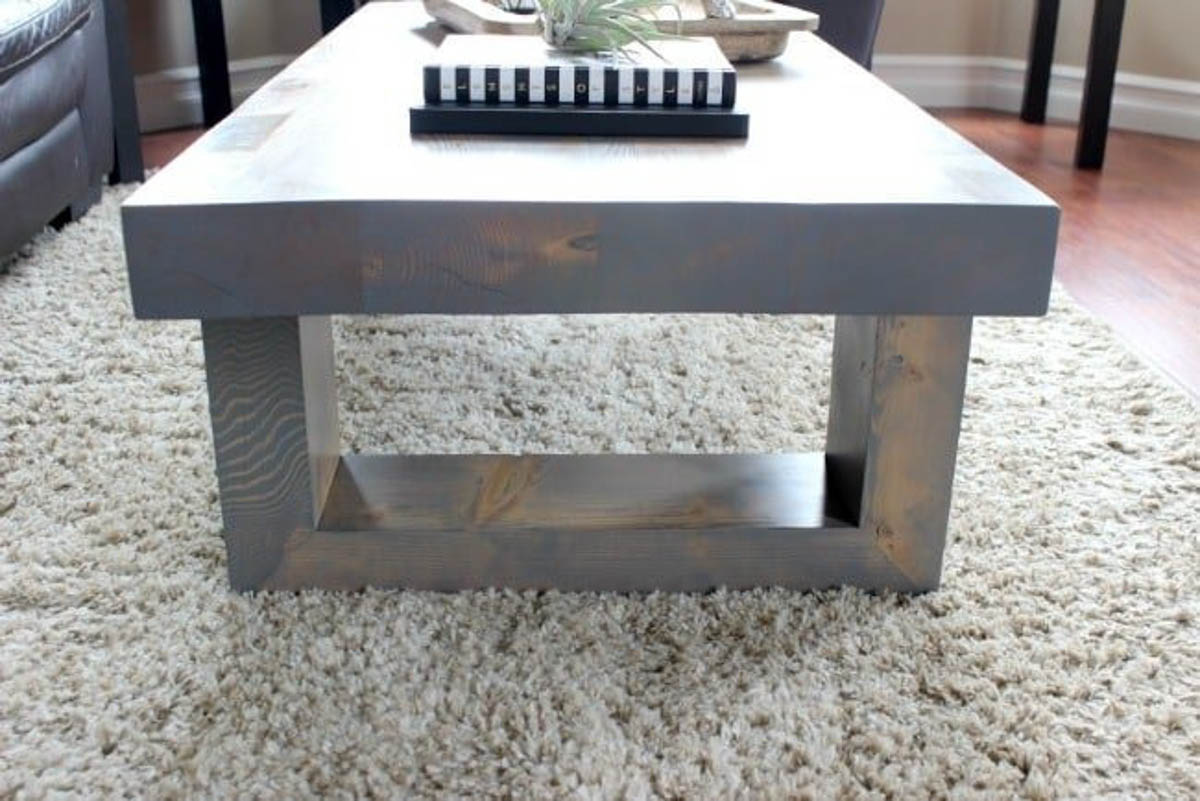 Side view of the wooden modern coffee table